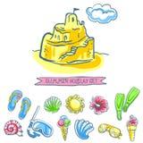 Комплект значков лета эскиза Бесплатная Иллюстрация