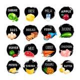 Комплект значков еды на белой предпосылке иллюстрация вектора