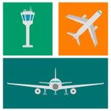 Комплект значков, знаков и символа авиапорта плоских также вектор иллюстрации притяжки corel Стоковые Изображения