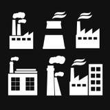 Комплект значков здания manufactory индустрии Завод и фабрика, сила и дым Стоковые Изображения