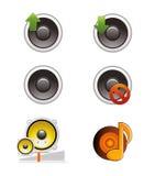 Комплект значков диктора и тома Стоковые Изображения RF
