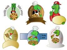 Комплект значков динозавра пиццы Стоковые Фотографии RF