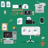 Комплект значков идеи проекта вектора плоских конторских машин Стоковые Фотографии RF