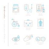 Комплект значков и концепций вектора медицинских в mono тонкой линии стиле бесплатная иллюстрация