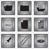 Комплект 9 значков канцелярских принадлежностей Иллюстрация штока