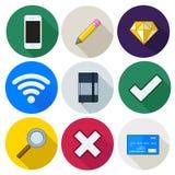 Комплект значков, карандаш, wifi, крест, карточка, диамант, вектор Стоковое Изображение