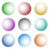 Комплект значков, кнопок при свет приходя от различных источников иллюстрация вектора
