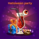 Комплект значков, коктеили и помадки на хеллоуин party Стоковые Фотографии RF