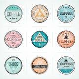 Комплект значков кофе год сбора винограда ретро иллюстрация вектора