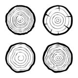 Комплект 4 значков колец дерева Стоковые Изображения