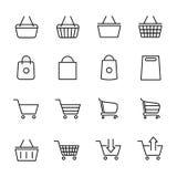 Комплект значков магазинной тележкаи в современной тонкой линии стиле иллюстрация штока
