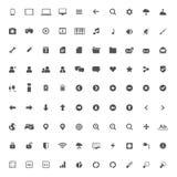 Комплект значков мультимедиа для сети и черни Стоковые Изображения RF