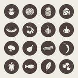 Комплект значков на еде темы Стоковое Изображение