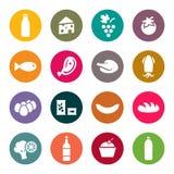 Комплект значков на еде темы бесплатная иллюстрация