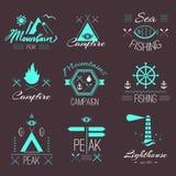 Комплект значков на походе в мистическом ретро стиле Стоковые Изображения RF