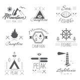 Комплект значков на походе в мистическом ретро стиле Стоковые Изображения