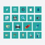 Комплект значков на теме дизайна с зеленым цветом тени Стоковое Изображение