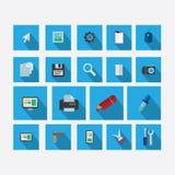 Комплект значков на теме дизайна с синью тени вектора стоковое изображение