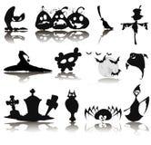 Комплект 12 значков на хеллоуин Стоковые Изображения