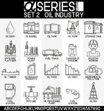 Комплект значков нефтедобывающей промышленности иллюстрация штока