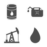 Комплект значков нефти и газ на белой предпосылке вектор Стоковые Изображения