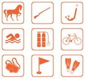 Комплект значков оборудования спорта Стоковые Изображения