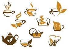 Комплект значков органического и травяного чая Стоковое Фото