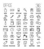Комплект значков офиса в современной тонкой линии стиле Стоковые Фото