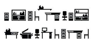 Комплект значков офисной мебели Стоковое Фото