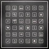 Комплект значков перемещения вектора доски мела Стоковое Изображение