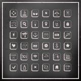 Комплект значков перемещения вектора доски мела Стоковое фото RF