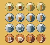 Комплект значков пива Стоковая Фотография