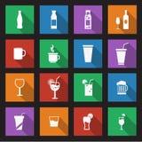 Комплект 16 значков питья Стоковое Изображение RF
