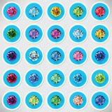 Комплект 25 значков покрасил драгоценные камни бесплатная иллюстрация