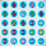 Комплект 25 значков покрасил драгоценные камни иллюстрация вектора