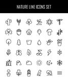 Комплект значков природы в современной тонкой линии стиле Стоковое Изображение RF