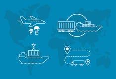 Комплект значков проветривает транспорт поставки доставки железнодорожных и воды грузового транспорта Стоковое Фото