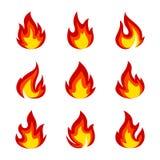Комплект значков пламени иллюстрация штока