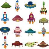 Комплект значков ракеты UFO Стоковое Изображение