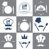Комплект значков ресторана Стоковое Изображение RF