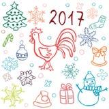 Комплект значков рождества с петухом Стоковые Изображения RF