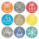 Комплект 9 значков рождества doodle Стоковое фото RF