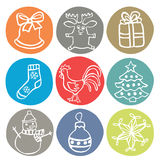 Комплект 9 значков рождества doodle Стоковые Фото