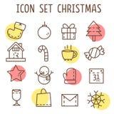 Комплект значков рождеств на белой предпосылке Стоковые Изображения RF