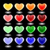 Комплект значков сердца дизайна 3d multicolor. Эмблемы для валентинки бесплатная иллюстрация