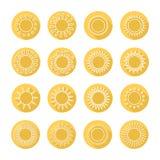 Комплект значков сети солнца, символ, подписывает внутри плоский стиль Стоковое Изображение