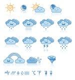 Комплект значков сини погоды Стоковые Фотографии RF