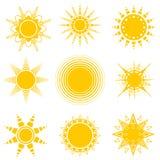 Комплект значков солнца вектора Изолированный вектор Стоковые Изображения RF