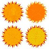 Комплект значков солнца изолированных на белой предпосылке Иллюстрация вектора в день солнца Стоковое Изображение