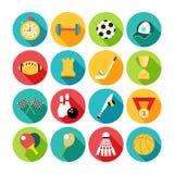 Комплект значков спорта в плоском дизайне с длиной Стоковая Фотография RF